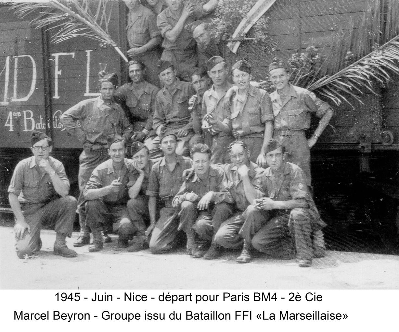 Juin 1945 : Nice - départ pour Paris (Cie des Cambarand)