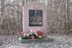 Stèle aux 33 jeunes de la 2 Cie Chambarands du BM 4 de la 1ère DFL tombés dans l'Illwald (Alsace)